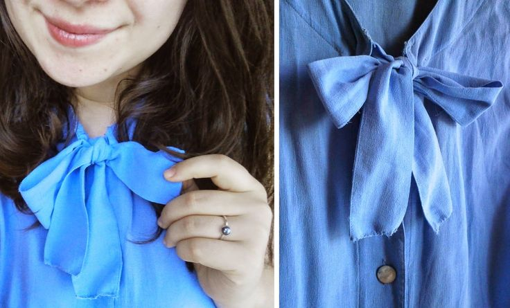 #blue #bow #blouse #recy