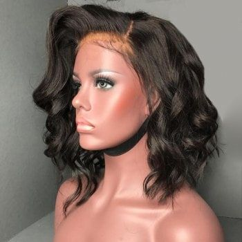 Short Free Part Fluffy Body Wave Lace Front Human Hair Wig - NATURAL BLACK