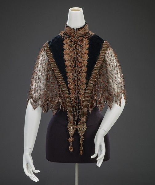Capelet artist Unknown nationality American creation date late 1880s materials silk velvet, metal and coral beads accession number 46.91