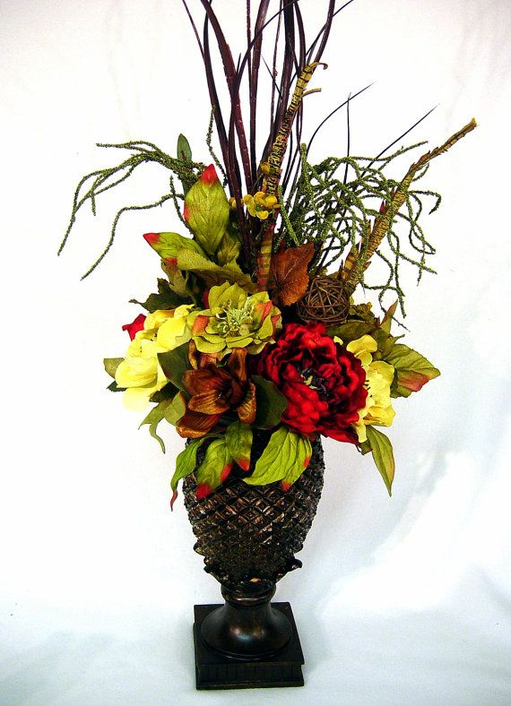 Williamsburg or Tuscan Old World styled Floral Arrangement Centerpiece in lovely Pineapple footed Urn 4 season decor StuNNinG! by Cabin Cove Creations …CUSTOM ORDERS WELCOME!... ....If sold stop by the cabin and check out all my other unique designs :-) ... Click here >>> https://www.etsy.com/shop/cabincovecreations?ref=si_shop