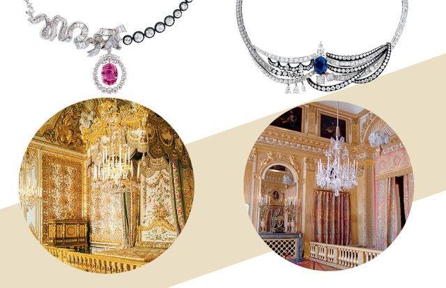 Colares com diamantes montados sobre prata oxidada. Abaixo, Chambre de la reine e Chambre du roi (Foto: Shutterstock, Divulgação e Reprodução Instagram)