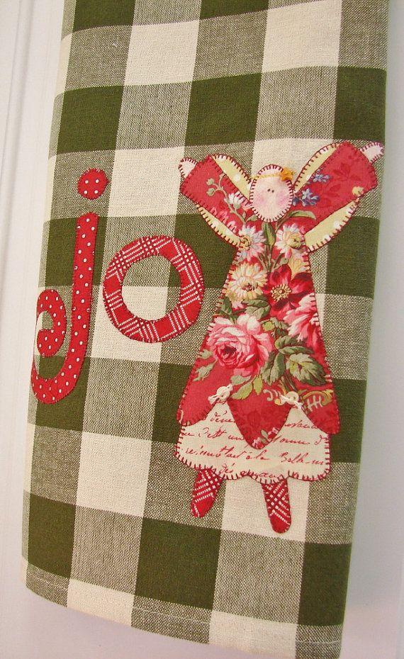 Super cute...Joyful Angel No.2 Homespun Tea Towel - Christmas Home Decor