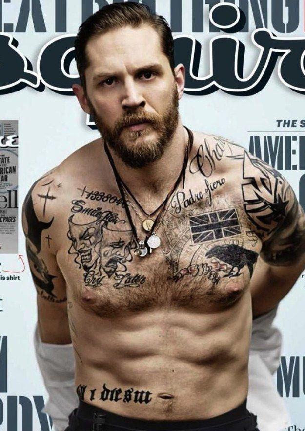 "Tom Hardy Proves His Body Was Molded By The Gods On The New Cover Of ""Esquire"" and his tattoos are glorious"
