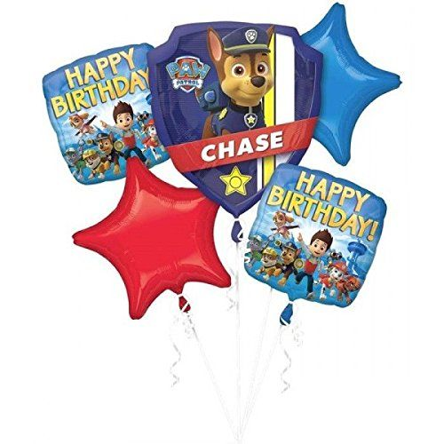 """Paw Patrol Balloon Bouquet Birthday party supplies Favors Prizes Decorations. You will get this product within 10 day afther order. Our Paw Patrol Balloon Bouquet is the perfect indoor or outdoor decoration for your adventurous party!. (1) 25"""" x 27"""" Chase Super shape Balloon. (2) 17"""" Paw Patrol Characters Happy Birthday Printed Square Mylar Balloons. (2) 19"""" Red and Blue Stars Shaped Mylar Balloons."""