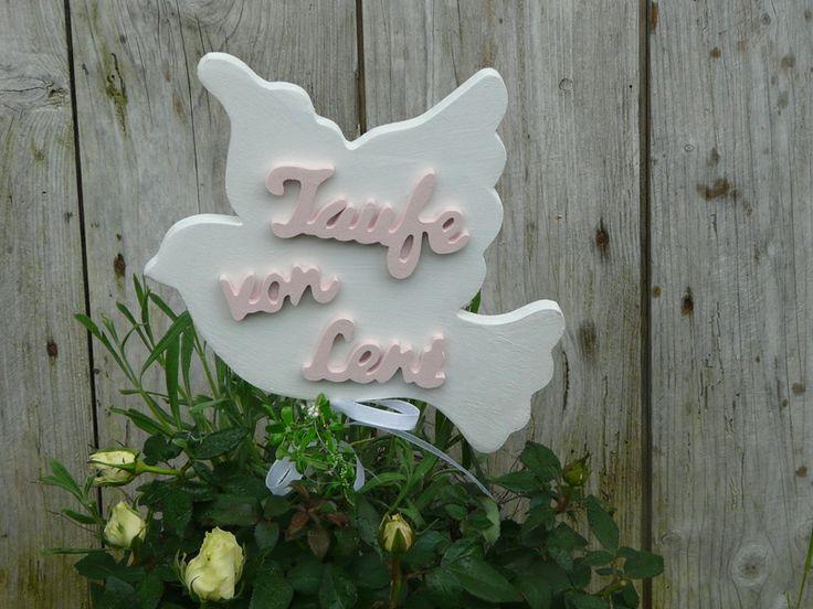 Taube Taufe Schriftzug Wunschname Dekoration von LeRoe auf DaWanda.com