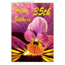 Happy 35th Birthday Flower Pansy Card