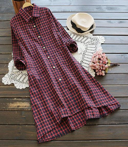 Chic babe! Take it with free shipping&easy return! It is detailed with side pockets&button down design! Try this plaid shirt dress at Cupshe.com