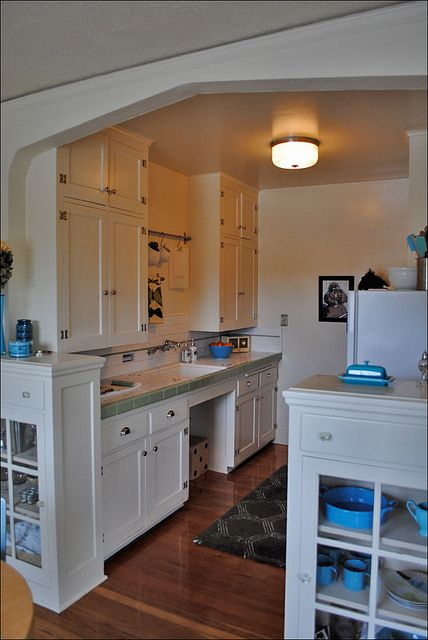 this tiny kitchen is in an old apartment building in a