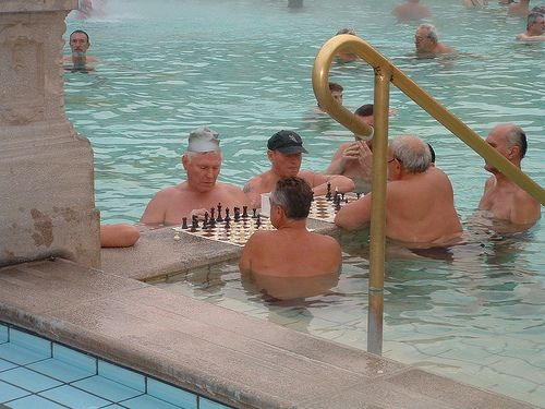 Szechenyi Thermal Bath - playing chess in the pool