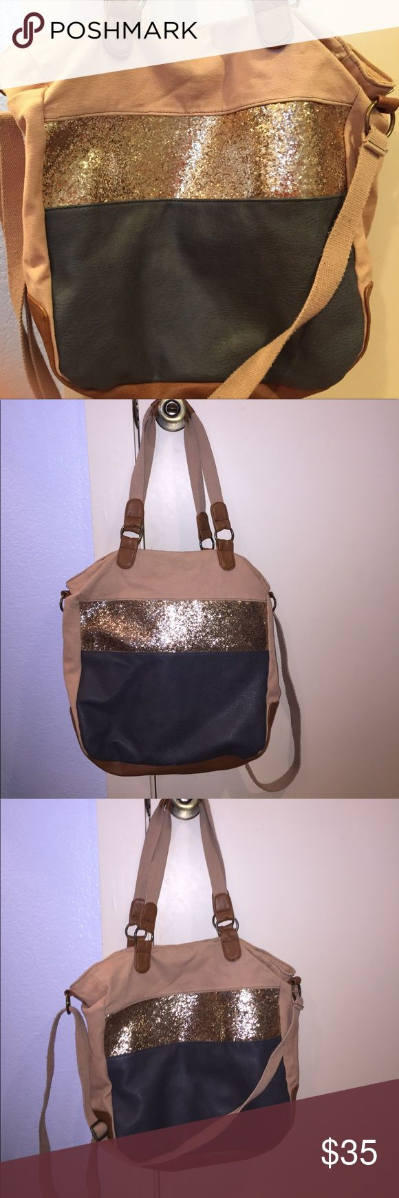 Adjustable bag/tote Gold glitter, gray and brown leather with tan base. comes with an adjustable cross body strap. makes a great school or travel bag and is in perfect condition. American Eagle Outfitters Bags Totes
