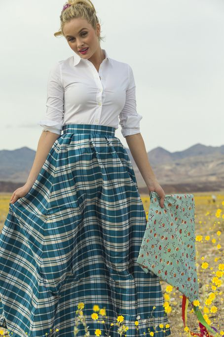 Sophie Plaid Taffeta Skirt Bue by Shabby Apple