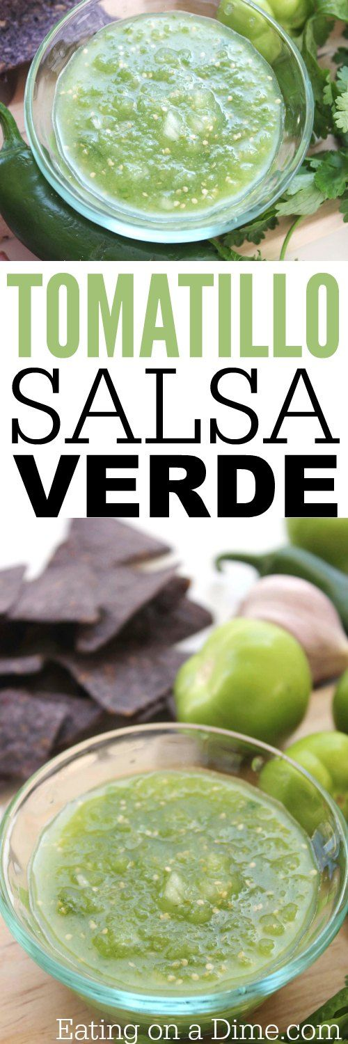 Easy Salsa Verde de Tomatillo recipe. Now, I have not usually been a fan of verde salsa, but when I tasted this I was hooked! This salsa has the perfect blend of sweet and spicy.