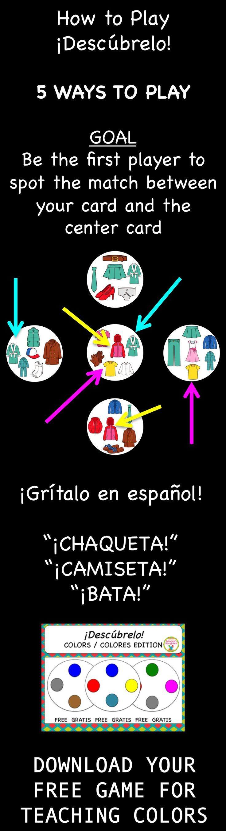 FREE Spanish vocabulary game - Desc�brelo (like Spot-it)