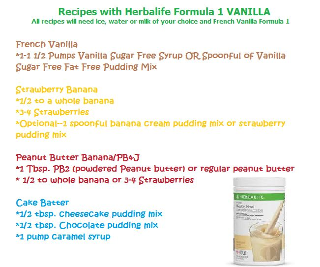 French Vanilla Herbalife Recipes Cake Batter PB&J Strawberry Banana