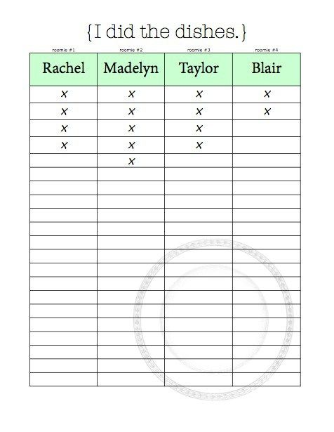 Chore Charts & Organizational Tips for Living With Roommates {Free Printables} | Blair Blogs