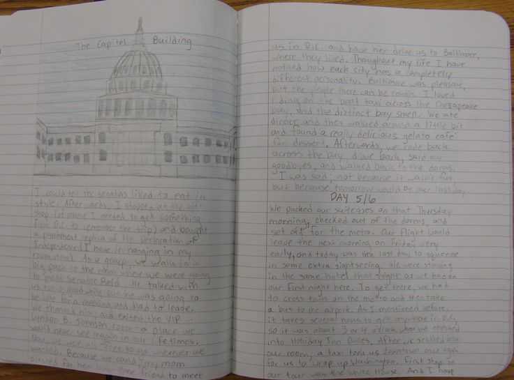 My 8th grader--Hannah--one was of our nine kids who won at the state level of National History Day, and she competed in Washington, D.C.  I told all those kids I expected amazing summer notebooks of D.C.  Hannah didn't disappoint me.  Read about my writer's notebook program here:  http://corbettharrison.com/Summer-Expectations.htm