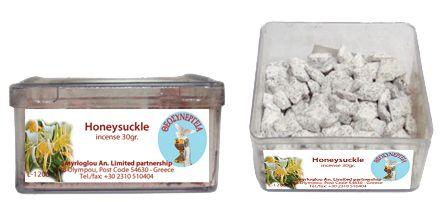 Greek Orthodox Handmade Incense - Honeysuckle. Plastic box of 30gr.