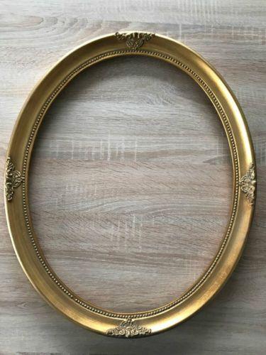 Antik-Stil-Holz-Bilderrahmen-Oval-57-x-47-cm-Ornamentiert-Gemaelderahmen-Gold