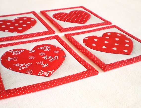 Fabric Coaster or Candle Mat Set  Everybody Loves Somebody - by PatchworkMill, $20.00