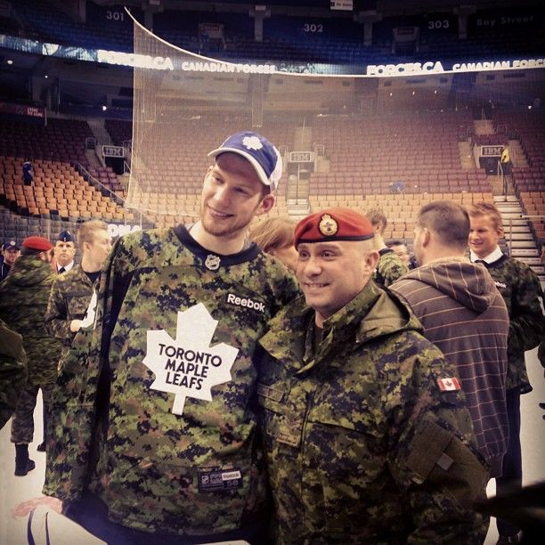 James Reimer with a member of the Canadian Forces