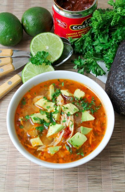 This Chipotle & Lime Soup w/ Shredded Chicken is a healthy and delicious family meal for a cold winters night! | Dinner Recipes, Gluten Free