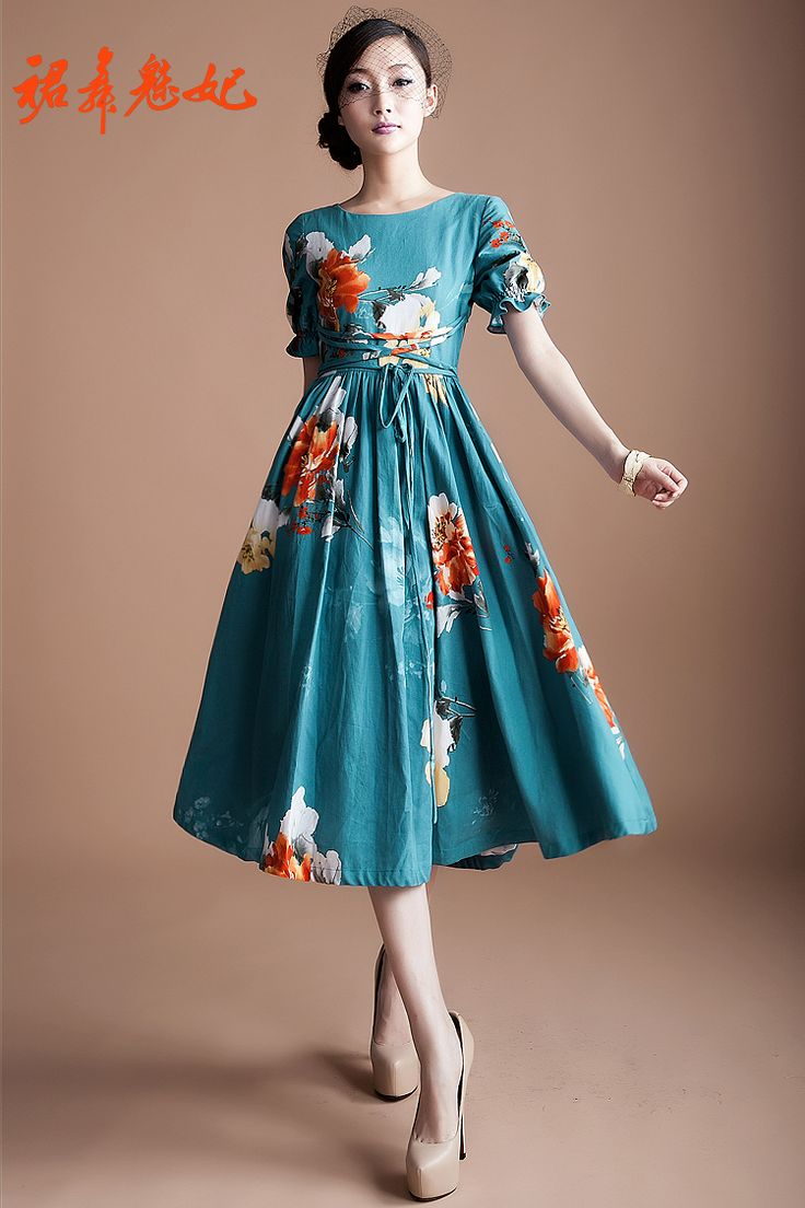 Blue floral dress | Buy China