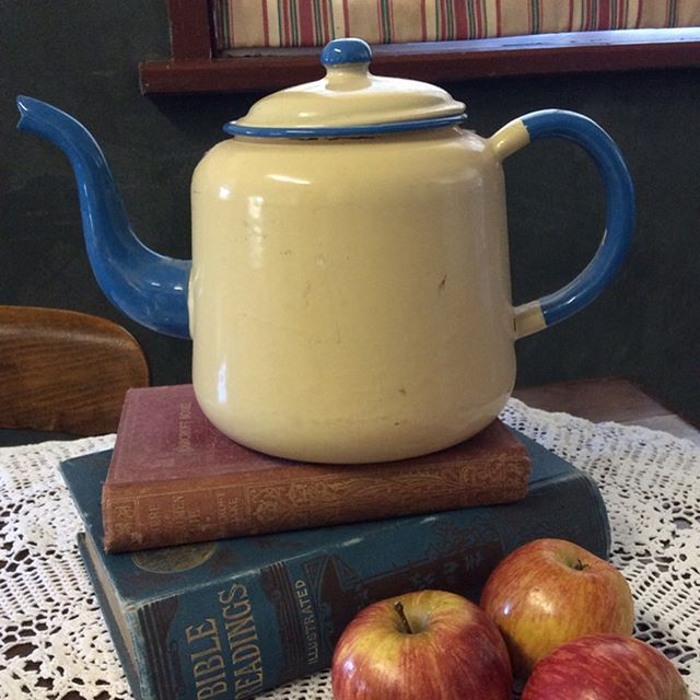 """$20 Teapot cream and blue enamel. Patina as per photos, sound for now with no leaks. Generous 2 litre capacity.  Comment """"SOLD"""" to purchase. Price is + postage or collect from Toowoomba.  #vintagekitchen #vintagekitchendecor #vintageforsale. #vintagehome #vintagehomedecor #vintagelove #teapot #enamelware #vintageteapot   #oldwares #collectables #collectablesforsale #vintagedecor #vintagedecorating"""