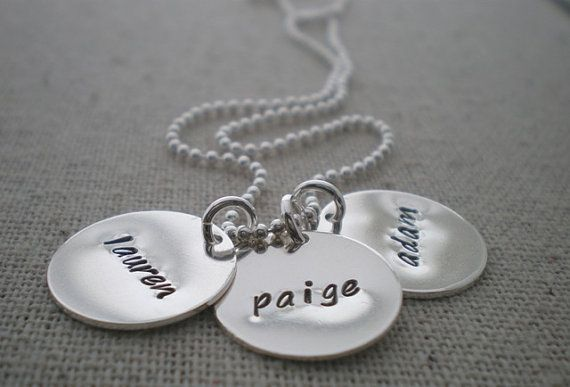 stamped names necklace  3 names necklace  three by malisaydesigns