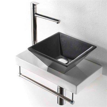 Lille sort håndvask til bordplade i porcelæn