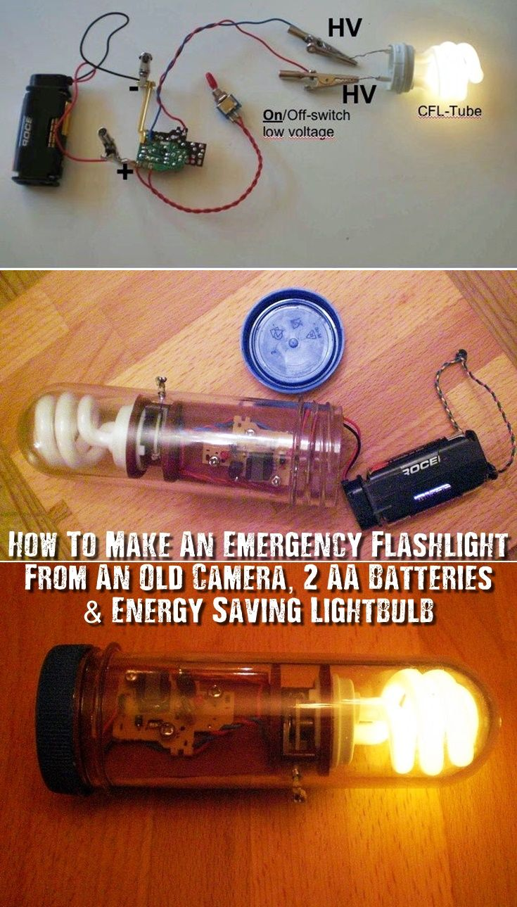 How To Make An Emergency Flashlight From An Old Camera, 2 AA Batteries & Energy Saving Light-bulb - Believe it or not, this is an energy saving light-bulb powered with 2 AA battery's... with just a few steps, you could have this as an emergency light in a SHTF situation. Its basically parts from a disposable camera, wires an energy saving light-bulb and 2 AA battery's.