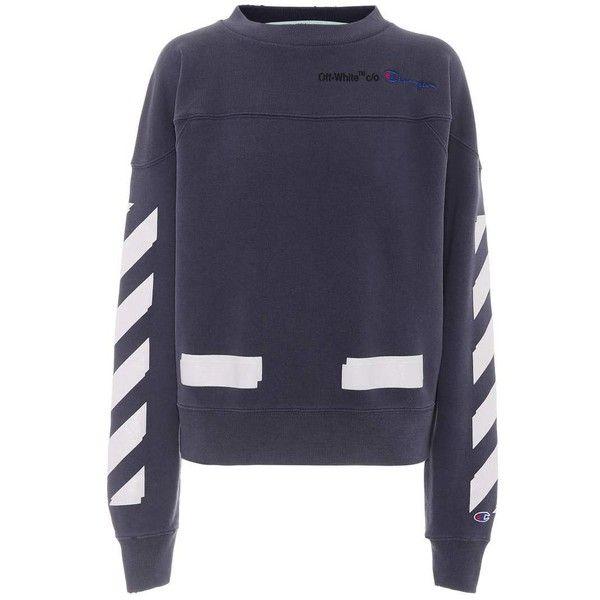 Off White X Champion Printed Sweatshirt 585 Liked On Polyvore Featuring Tops Hoodies Sweatshirts B Off White Sweatshirt Printed Sweatshirts Sweatshirts