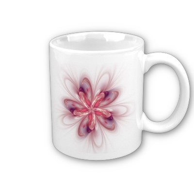 Purple Flower Abstract Fractal Art Mug $14.80
