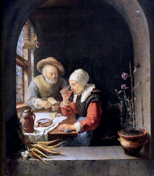 Frans van Mieris the Elder. 1635-1681. Leiden. Elderly couple at table. around 1655. Florence Uffizi Gallery.
