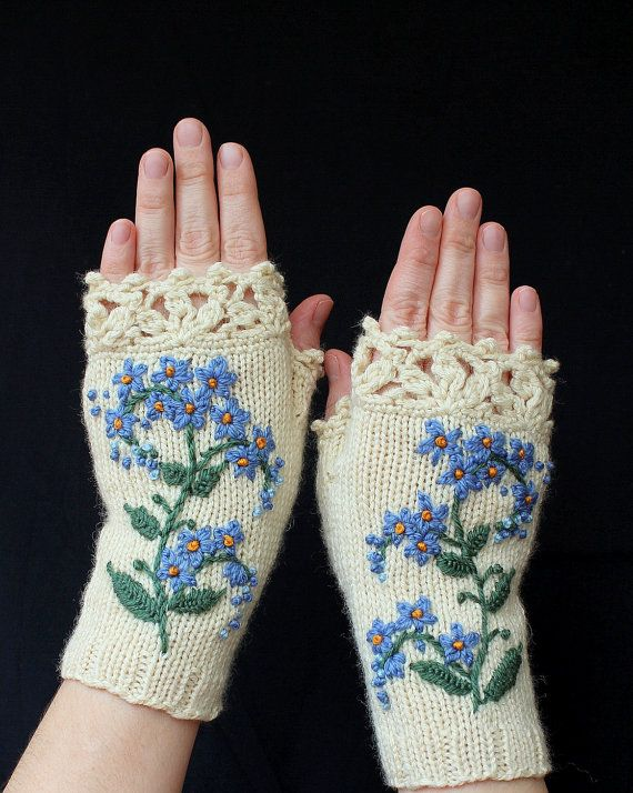 MADE TO ORDER in 4-6 weeks, Knitted Fingerless Gloves, Forget-Me-Not,  Clothing And Accessories, Gloves & Mittens, Gift Ideas, For Her,