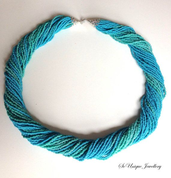 Turquoise blue twisted beaded necklace by SouniqueJewellery