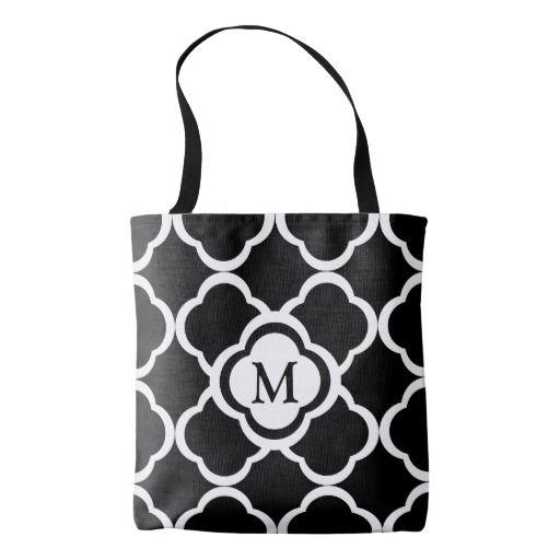 Quatrefoil Floral Black And White Pattern Monogram Tote Bag