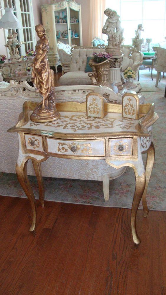 Rustic Country Farmhouse Decor Ideas 4 Fabulously Curvy Vintage Italian Florentine Desk HollywoodRegency