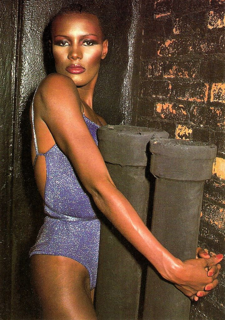 https://flic.kr/p/zTykQ6 | Grace Jones | British postcard by Heroes, London, no. PC 544.  Grace Jones (1948) is a Jamaican singer, supermodel,  and actress. Classic is her album Nightclubbing (1981) and unforgettable are her hits La Vie en Rose, Pull Up to the Bumper and I've Seen That Face Before. She was also memorable as a James Bond villain in A View to a Kill (1985). But foremost, the unusual, androgynous, bold, dark-skinned  artist was a style icon for the late 1970s and early 1980s.