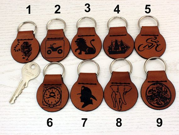 Keychain Key Fob Pendant  Natural Leather Tiger Quad Lion Sail