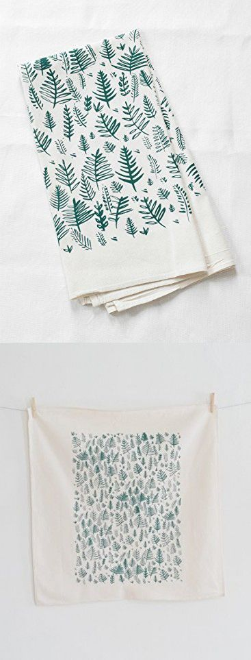 Fern Pattern Tea Towel in Dark Green - Flour Sack Towel - Woodland Home Decor - Natural Cotton Kitchen Towel
