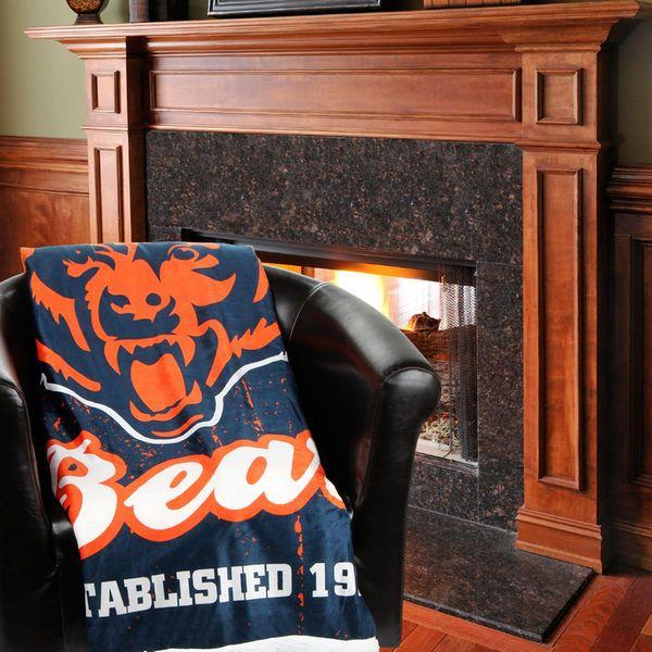 "Chicago Bears 50"" x 60"" Old School Mink Sherpa Plush Blanket - $29.99"