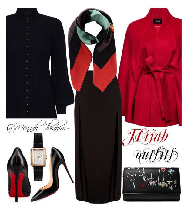 """""""#Hijab_outfits #modesty #Formal #Classic #Winter"""" by mennah-ibrahim on Polyvore featuring Zimmermann, Sentaler, Fendi, Christian Louboutin and Chanel"""