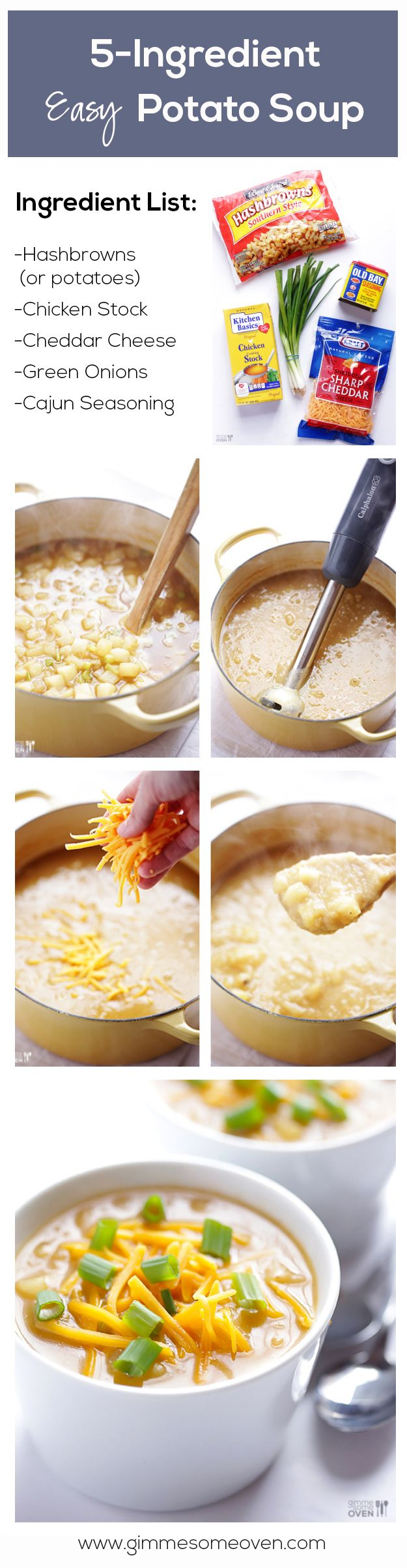 5-Ingredient Potato Soup Recipe -- it's thick, flavorful, and SO easy!   gimmesomeoven.com
