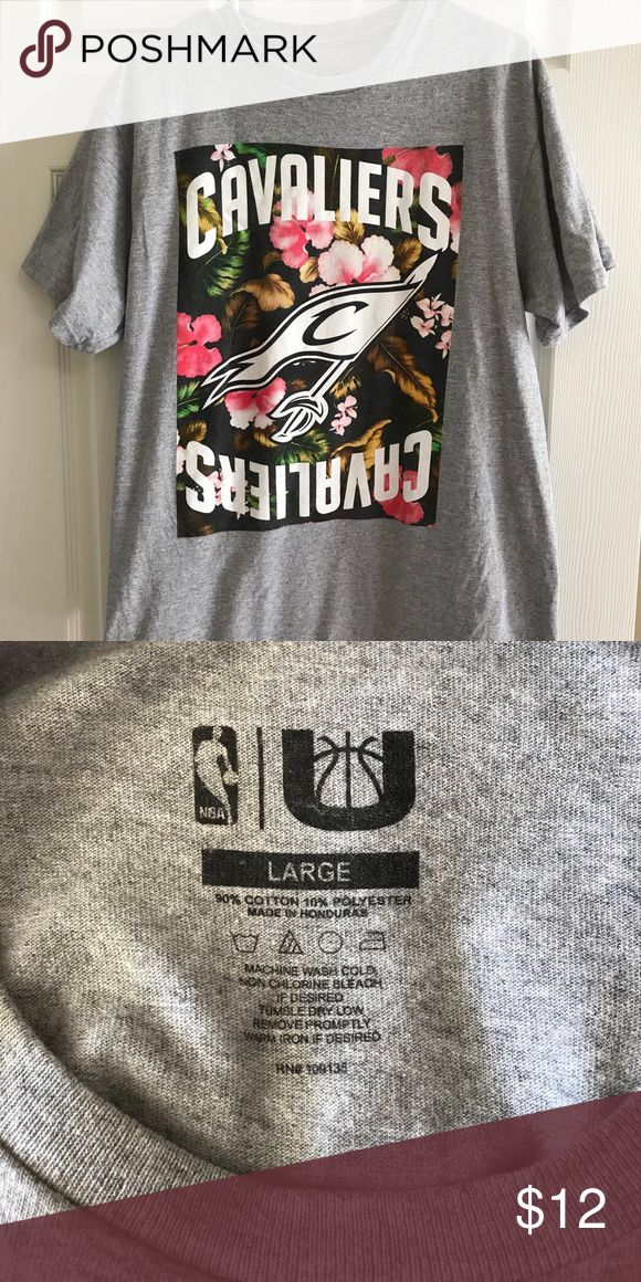 Cleveland Cavaliers Floral Logo Tee Size Large Fun men's Cavs t-shirt size large.  Heathered gray shirt with floral background. Cavs logo in white.  Size large.  No rips or stains.  Never worn but was laundered, hung to dry. NBA Shirts Tees - Short Sleeve