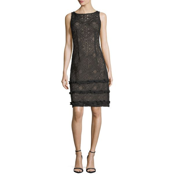 Aidan Mattox Sleeveless Boat-Neck Lace Cocktail Sheath Dress (2.080 DKK) ❤ liked on Polyvore featuring dresses, black, lace evening dresses, sheath cocktail dress, holiday dresses, special occasion dresses and sheath dresses