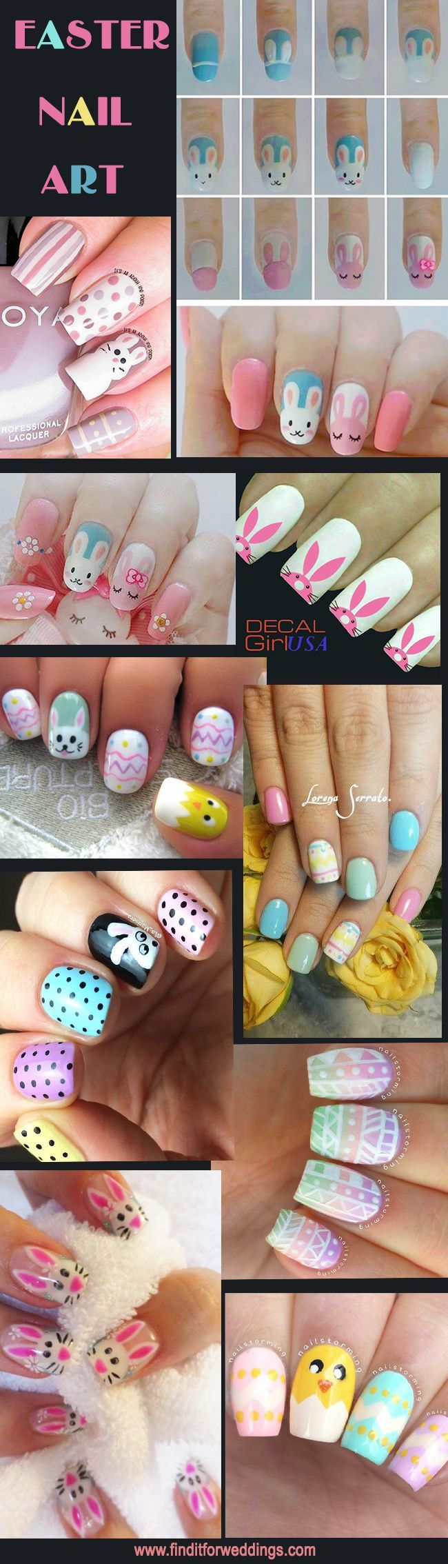 Easter Nails - Nail Art www.finditforweddings.com for wedding and fashion inspiration