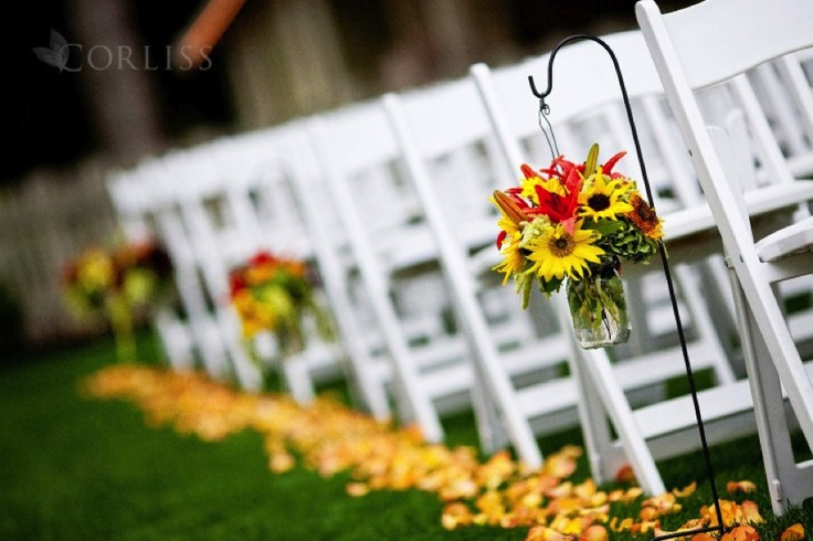 Wedding AisleFlower Pedal, Fall Leaves, Red Pail, Late Summer, Aisle Flower, Flowers Decor, Add Branches, Summer Time, Aisle Ideas