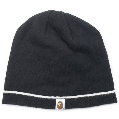 A BATHING APE monkey beanie with face tagged line BLACK