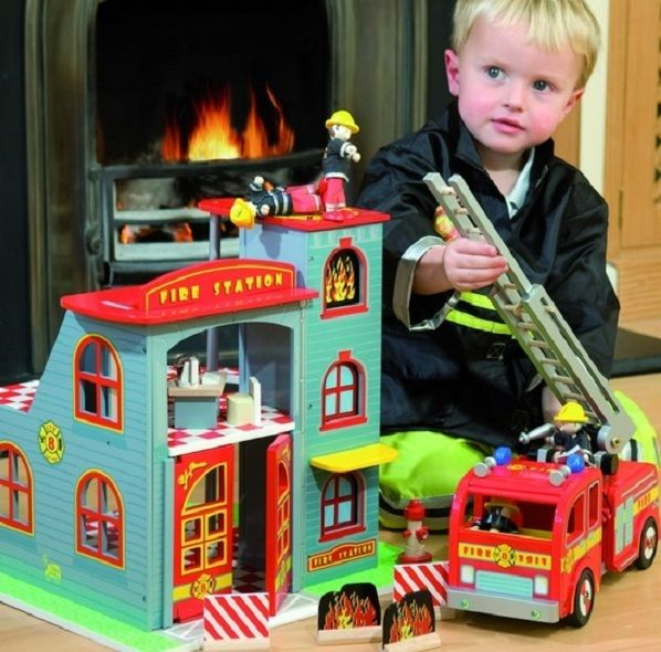 Fire Station Play set = Awesome #limetreekids This would be a huge hit in our house with two little fire truck mad boys!!!