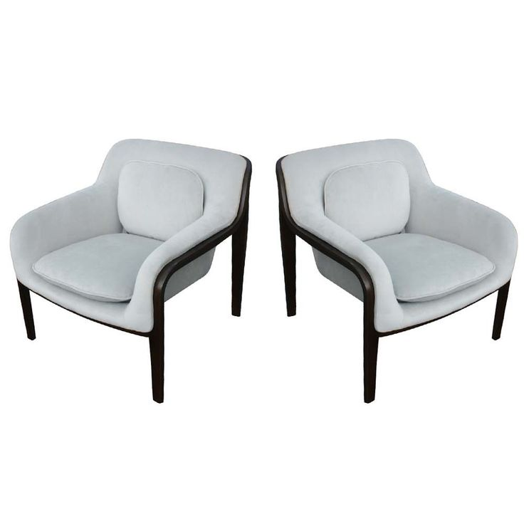 (2) Knoll Bill Stephens Bent Wood Club Lounge Chairs